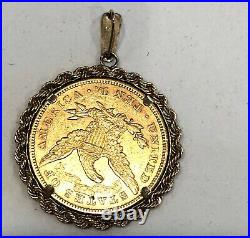 1880- U. S. $10 Gold Coin In Solid 14k Yellow Gold Rope Bezel/pendant