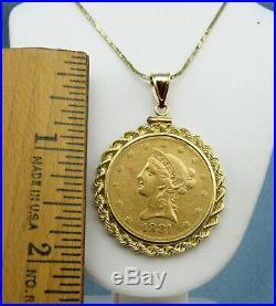 1881 US $10 liberty head gold coin Pendant, 14K Gold Bezel
