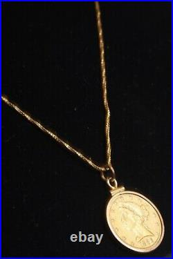 1886 $5 Liberty Gold Coin Necklace 24 14K Chain