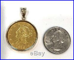 1898- S-u. S. $10 Liberty Head Gold Coin In Solid 14k Yellow Gold Bezel/pendant