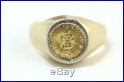 18K Gold Coin Signet Ring with 22K Gold 1865 Imperio Mexicano Coin, Size 7.75