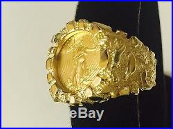 18K Gold Men's 21 MM NUGGET COIN RING with a 22 K 1/10 OZ AMERICAN EAGLE COIN