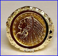 18K Yellow Gold 23.5 MM NUGGET COIN RING with 2 1/2 DOLLAR INDIAN HEAD COIN