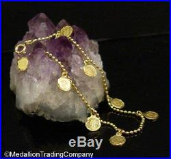 18K Yellow Gold Dangle Mini Liberty Head Eagle Coin Bead Ball Link Bracelet 8