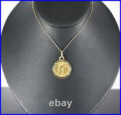 18k Yellow Gold 1927 King George V Georgivs 22k Coin Sovereign Pendant 14K Chain