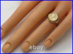 18k Yellow Gold Bezel 1865 Maximiliano Mexico Mini Replica 87% Coin Ring Size 6