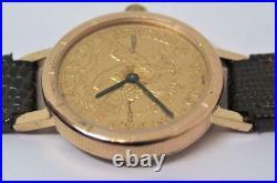 18k Yellow Gold CORUM Ladies Quartz Watch with $5 DOLLAR 24k Coin EXLNT SERVICED