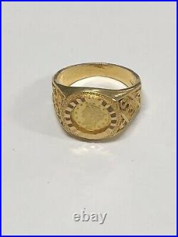 18k Yellow Gold Ring With 22k Gold Coin 6.4 Grams Size 6.5