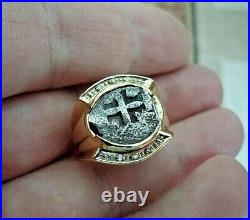 18k Yellow Gold Ring With Genuine 1/2 Reale Silver Spanish Treasure Cob Coin