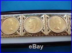 18k Yellow Gold Super Heavy 110.2 Grams Sovereign Coin Bracelet, 7.75 Inch Long
