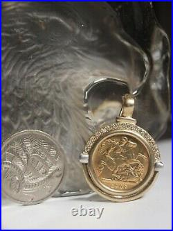 1902 King Edward VII Gold Half Sovereign Coin Set In 375 Pendant With Diamond
