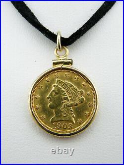 1903 $2.5 Liberty Head Quarter Eagle Gold Coin Pendant, 14K Yellow Gold Bezel