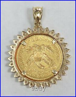1904 Gold USA $5 Liberty Head Half Eagle Coin In 14k Diamond Bezel