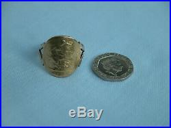 1908 BENT OVER/CURVED 22CT FULL SOVEREIGN COIN IN 9CT GOLD RING SIZE Y 10.1g
