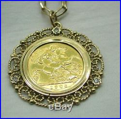 1908 Half Sovereign Coin Pendant In 9 carat Gold And Diamond Mount And Chain