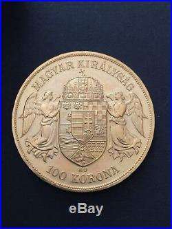 1908 Hungary Gold 100 Korona Coin 33.87g yellow Gold