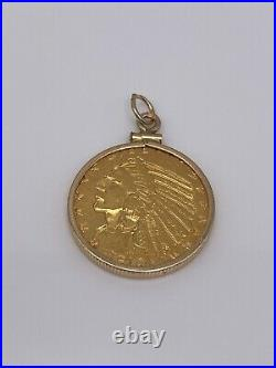 1910 $5 Coin with Solid 14k Gold Frame
