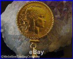 1912 20 Francs Rooster Coin 14k Gold Twist Bezel Clip Bail Reversible Pendant
