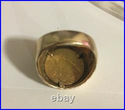 1912 2.50 INDIAN HEAD COIN mounted in solid 14k ring sz 10.5