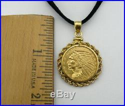 1913 $5 Half Eagle Indian Head Gold Coin Pendant, 14K Yellow Gold Bezel