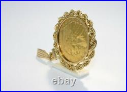 1915 $5 U. S. Indian Head Coin Bezel Pendant in 14K Yellow Gold
