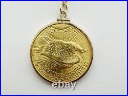 1924 $20 Saint-Gaudens Gold Double Eagle Coin Pendant, 10K Yellow Gold Bezel
