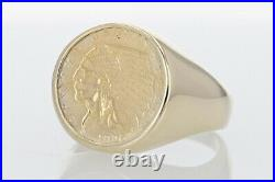 1926 Indian Head $2.50 Coin Men's Ring 14k Yellow Gold Size 12 / 18.97 Grams