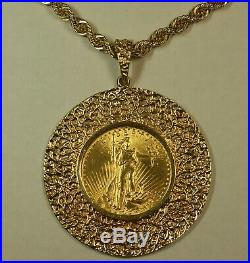 1927 St. Gaudens $20 Double Eagle Gold Coin HEAVY 14K Pendant 20 Rope Necklace