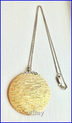 $1940 Roberto Coin LARGE 18K Diamond Gold Elephantino Disc Pendant Necklace