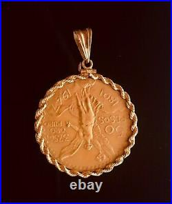 1947 Mexico 50 Pesos Coin with 14K Gold Rope Link Bezel Pendant