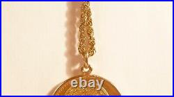 1959 Mexican Gold Pesos Coin Necklace 22 14K Gold Rope Chain 33.2 Total Grams