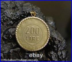 1978 Italian 200 Lire Coin 14k Yellow Gold Reversible Twist Bezel Lira Pendant