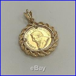 1980 Krugerrand 22K Yellow Gold 1/10oz Bullion Coin Pendant