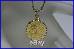 1982 24K Gold 0.999 1/4 OZ. Chinese Panda Coin Pendant 14K yellow gold Bezel