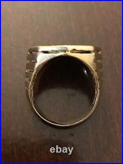 1982 South Africa 1/10th Oz Gold Krugerrand Mens Coin ring
