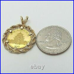 1983 10th ounce 999 Chinese Panda 10 Yuan Coin 14k Gold Rope Edge Charm Pendant