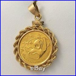 1985 1/10oz. 999 Chinese Panda Coin 14K Frame Charm Pendant 5.9gr
