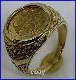 1985.999 1/20th oz panda coin ring nugget pattern 14k yellow gold mounting MEN