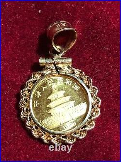 1986 5 Yuan Panda 1/20th OZ 999 Fine Gold Coin In a 14K Yellow Gold Rope Bezel