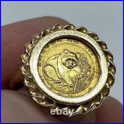 1988.999 1/20 Ounce Gold Panda Coin Set In 14K Sz 7.5 Ring 5.1g