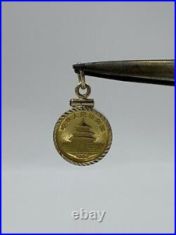 1989 Chinese 5Y Panda 1/20oz Gold. 9999 fine 24K Coin in 14k Yellow Gold Bezel