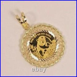 1990 5 Yuan 1/20th oz 24k. 999 Gold Panda Coin Pendant, in 14K Gold Setting