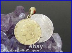 1991 1980 Italian 20 Lire Coin 14k Solid Yellow Gold Earrings Republic of Italy