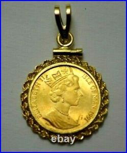 1991 1/20 OZ GOLD Proof ANGEL Isle Of Man IN 14K YELLOW GOLD ROPE BEZEL PENDANT