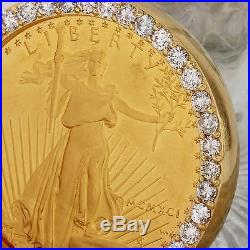 1991 1 oz Gold American Eagle BU (MCMXCI) & 2.80Ct Diamond Coin Pendant 48g