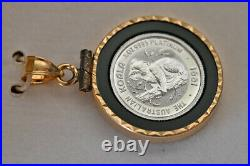 1991 Australian Koala 1/10 oz. 9995 Platinum Set in a 14K Yellow Gold Pendant