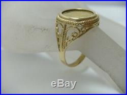 1991 Gold Coin Isle of Man Crown Cat Series 1/25 oz 14K Yellow Gold Coin Ring