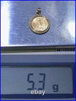 1995 1/10oz Fine Gold Standing Liberty 14k Yellow Gold Rope Bezel Coin Pendant