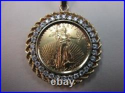 1998 Us Liberty $10.00 Gold Coin Diamond Pendant