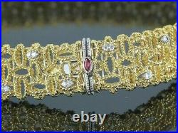 $19,500 Roberto Coin Barocco 18K Yellow White Gold Round Diamond Choker Necklace